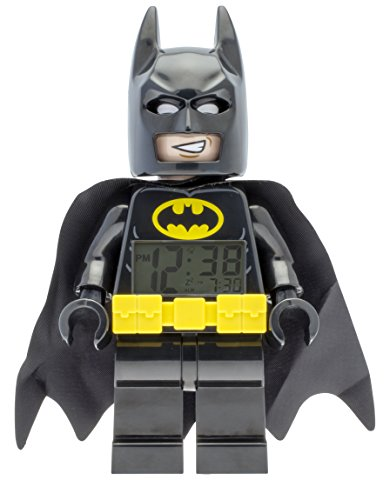 09327 Batman Kids Minifigure Alarm Clock | Black/Yelow | Plastic | 9.5 inches Tall | LCD Display | boy Girl | Official ()