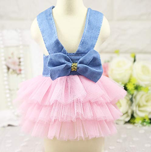 (LVYING Summer Pet Dog Clothes Cute Princess Dress Puppy Cats Tulle Lace Wedding Dresses Small Dogs)