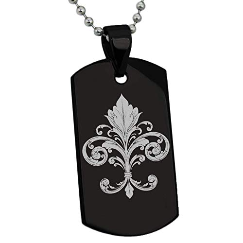 Stainless Steel Silver Gold Black Rose Gold Plated Ornate Fleur De Lis Symbol Engraved Pendant Dog Tags Men Women Necklace 24'' Ball Chains ()