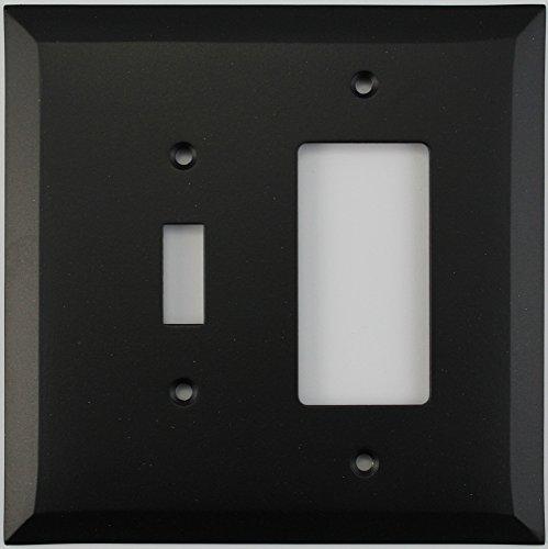 Classic Accents Jumbo Black Switch Plates - (2 Gang Combo - 1 Toggle Switch 1 GFCI/Rocker)