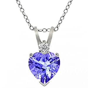 """0.58 Ct Tanzanite & Sapphire Sterling Silver Heart Shape Pendant with 18"""" Chain"""