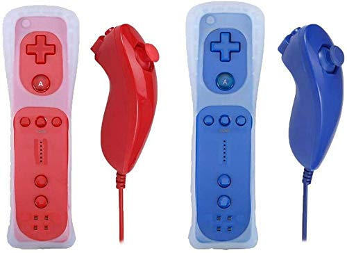 Poulep 2 Packs Nunchuck and Remote Controller for Wii Wii U Console - Red and Deep Blue