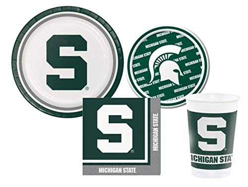 (Michigan State Spartans Party Pack - Plates, Cups, Napkins - Serves 8)