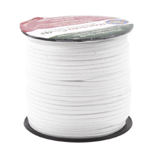 Mandala Crafts 100 Yards 2.65mm Wide Jewelry Making Flat Micro Fiber Lace Faux Suede Leather Cord (White)