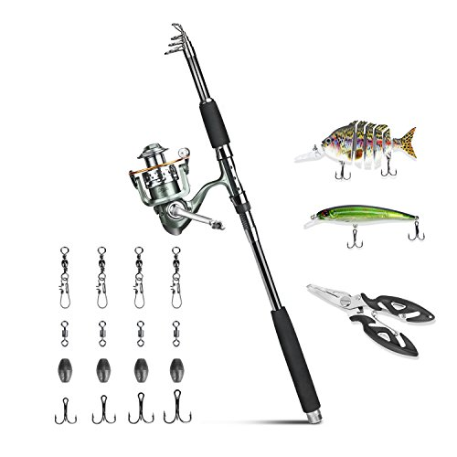 ROSE KULI Fishing Rod and Reel Combos – Portable Collapsible Pole with Spinning Reel Kits for Travel Saltwater Freshwater Fishing