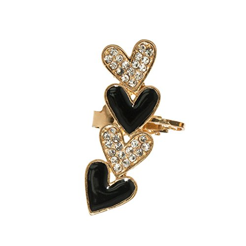 Gold tone Helix Cartilage Lady Cuff Earring Black White Heart Love Crystal Rhinestone Climber Crawler Sparkly Jewelry (Hearts) - Crystal Gold Tone Heart