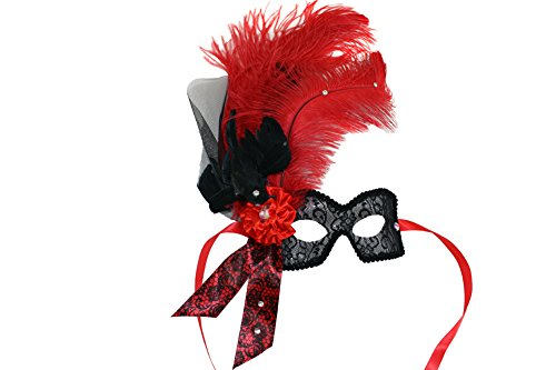 - Success Creations Crowe Women's Red Ostrich Feather Masquerade Mask