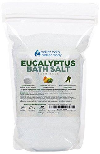 Eucalyptus Bath Salt 32oz (2-Lbs) - Epsom Salt Bath Soak With Eucalyptus Essential Oils & Vitamin C - Enjoy Refreshing Aromatherapy Benefits With This Natural Bath Soak - No Perfumes No Dyes ()