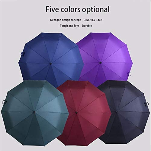 XXAN Fully Automatic Parasol Folding Windproof Ten-Bone Umbrella Color : Brown