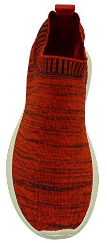 Cambridge Select Femmes Bas Haut Léger Respirant Extensible Tricot Chaussette Mode Sneaker Tissu Rouge