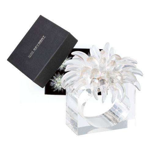 Kim Seybert Set Of 4 Clear Blossom Napkin Rings