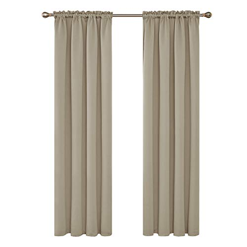 Deconovo Extra Long Rod Pocket Curtains Blackout Room Darkening Curtains Thermal Insulated Drapes Sun Blocking Curtains for Living Room 52Wx108L Inch Beige Set of 2