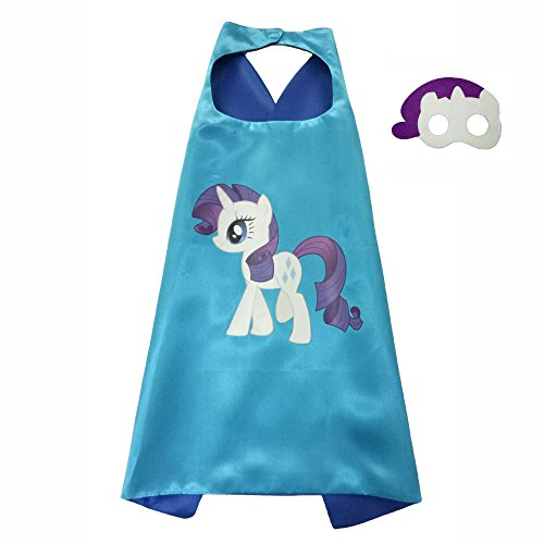 Rarity Mlp Costume (FASHION ALICE Kids Children's My Little Pony Hero Superman CAPE & MASK SET,Halloween Costume Cloak for Child (Rarity,Purple and white))