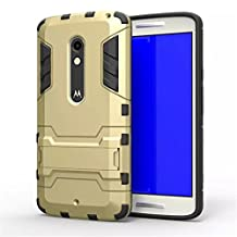 Moto X Play Case,Gift_Source TPU+Hard Case Dual Layer Armor Rugged Defender Protective Case With Built-in Kickstand For Motorola Moto X Play [Gold]