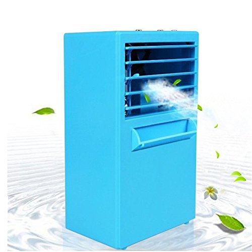 JMcolo Mini Portable Air Conditioner Fan, 9.5-inch Small Desktop Fan Personal Table Fan Mini Evaporative Air Circulator Cooler Humidifier (Blue)