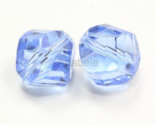 100 8mm Adabele Austrian Helix Crystal Beads Light Sapphire Alternative For Swarovski Preciosa Crystalized Beads 5020 #SSH-814