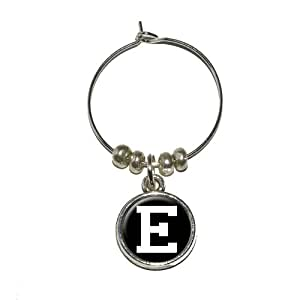 Graphics and More Letter E Initial Black White Wine Glass Charm Drink Stem Marker Ring