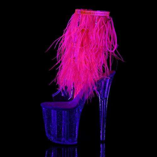Pleaser Plateau Absatz-Stiefelette mit Marabou Pelz-Saumen in Pink, Plateau und Absatz Sind Transparent und mit Glitzer-Elementen Verziert, Vegan, Fla