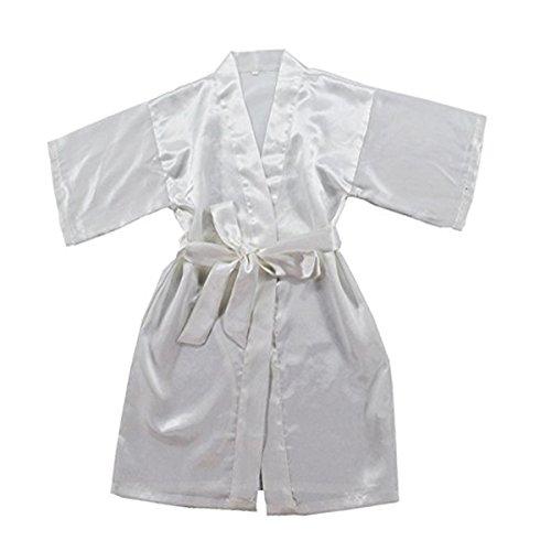 TOLLION Boys and Girls Satin Kimono Robe Kids Pure Color Bathrobe Nightgown (3T, White) by TOLLION
