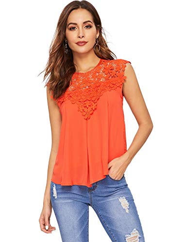 - Floerns Women's Lace Neckline Sleeveless Chiffon Blouse Top Orange M
