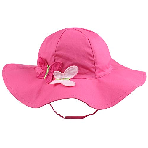 Hat Butterfly Bucket - Kid Baby Sun Hat Toddler UPF 50+ Sun Protective Wide Brim Bucket Hat Bowknot Sun Beach Cap Reversible Hat for Outdoor (Butterfly, M)