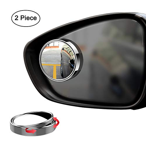 Ampper Blind Spot Mirror, 2″ 360 Degree Adjustabe HD Glass and ABS Housing Convex Round Stick-On Mirror for Car (Silver, Pack of 2)