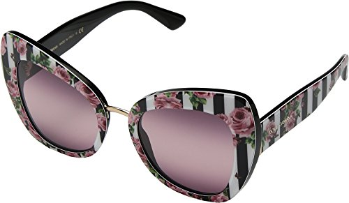 Dolce & Gabbana Women's 0DG4319 Print Rose On Black/Pink Gradient/Purple One Size (Sunglasses Retail Dolce Gabbana)