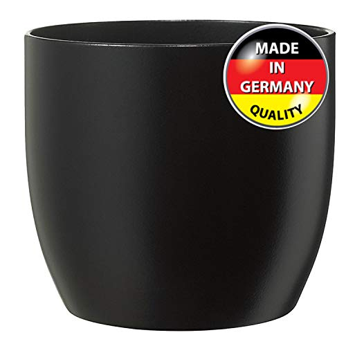Modern Ceramic Matte Black Round Medium Flower Pot 10 inch | Manchester Model for Indoor Large Planter | Fits Perfectly in 11 inch Mid Century Plant Stands | Cylinder Plant Pots | Large Round Vase