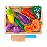 Huangyingui Wooden Cutting Toy Set Children's Educational Toys - Children's Kids Cutting Birthday Party Kitchen Food Simulation Toys, Role Playing Toys ( Color : 1 )