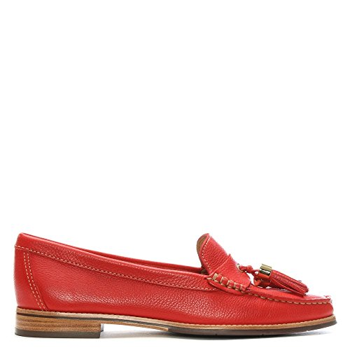 Daniel Tuler Red Pebbled Leather Tasselled Loafers Red Leather