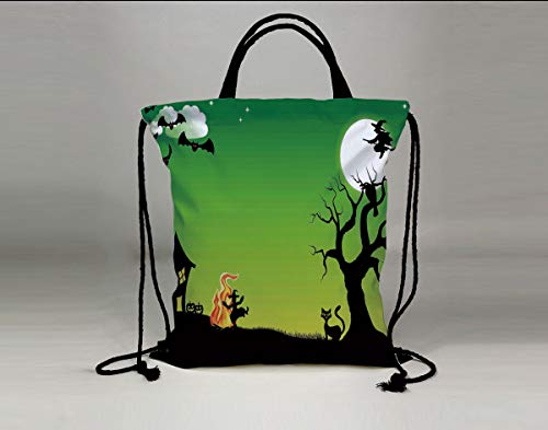 3D Print Drawstring Bag String Backpack,Halloween Decorations,Witch Dancing