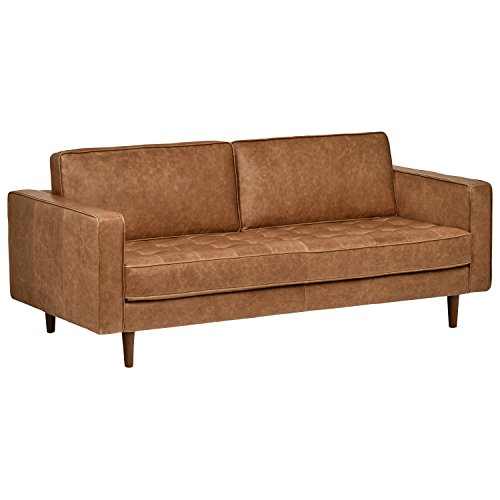 "Rivet Aiden Tufted Mid-Century Leather Bench Seat Sofa, Without Side Pillows, 74"" W, Cognac"
