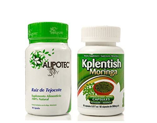 Alipotec Capsules Raiz de Tejocote Root 90 Day Supply and 30 Day Moringa Potassium Supplement 2 Product Pack