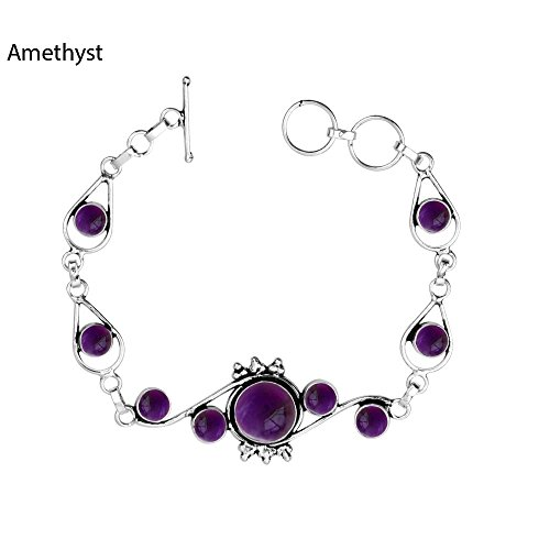 thyst & 925 Silver Plated Bracelet Made By Sterling Silver Jewelry (Ctw Amethyst Bracelet)