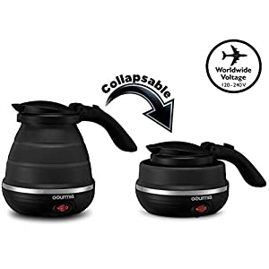 Gourmia GK320 Travel Foldable Electric Kettle - Dual Voltage - Food Grade Silicone, Collapses for Easy & Convenient Storage, Boil Dry Protection, .6 Quart - Black