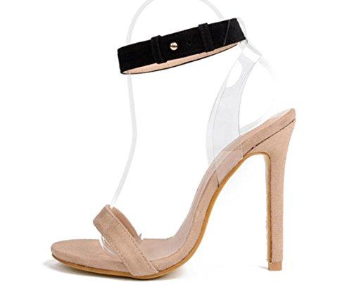Scarpe YCMDM donne trasparenti Film col tacco alto in pelle scamosciata dei sandali , apricot , 38
