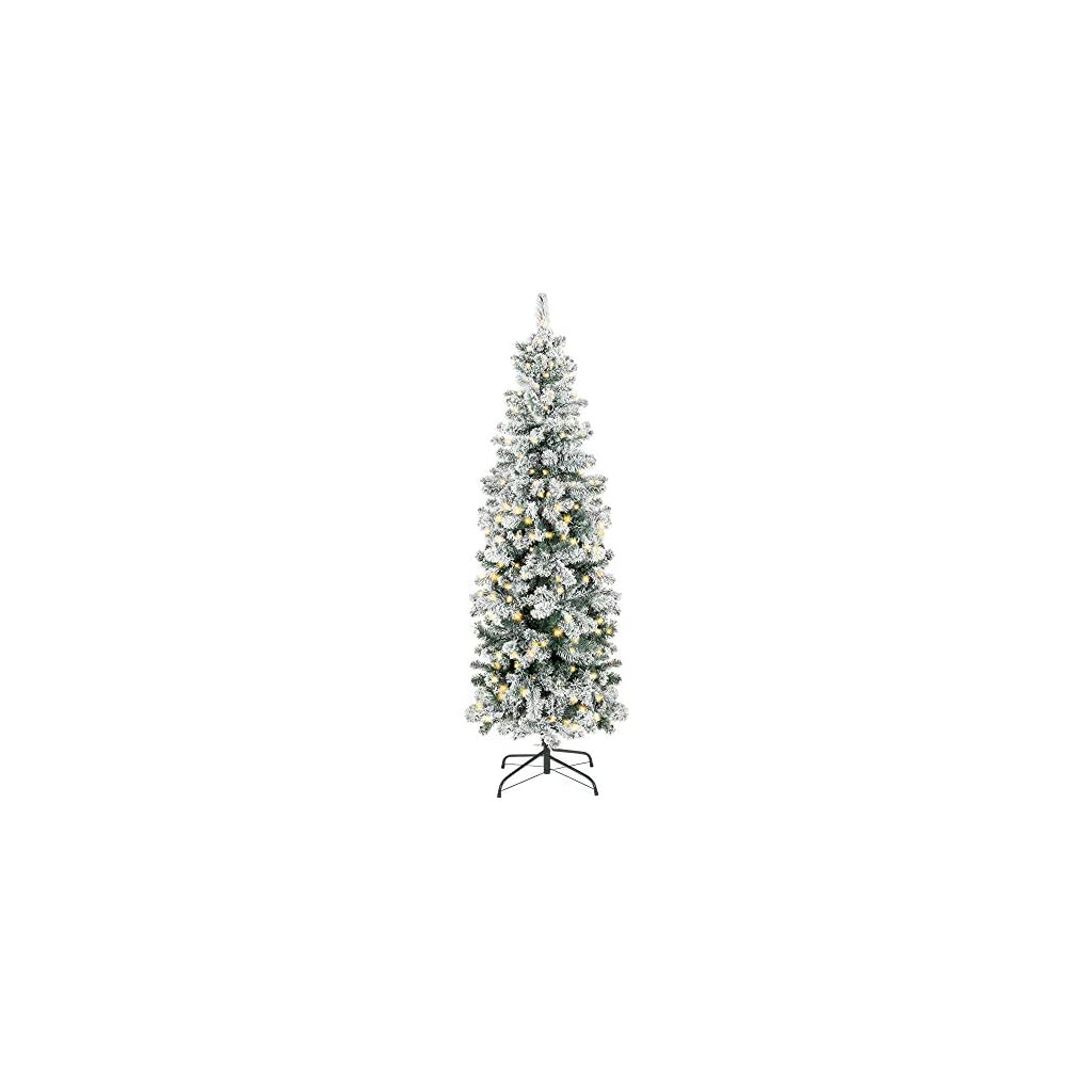 Best-Choice-Products-75ft-Pre-Lit-Artificial-Snow-Flocked-Christmas-Pencil-Tree-Holiday-Decoration-w-350-Clear-Lights