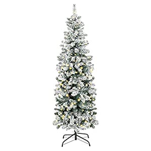 Best Choice Products 7.5ft Pre-Lit Artificial Snow Flocked Christmas Pencil Tree Holiday Decoration w/ 350 Clear Lights 18