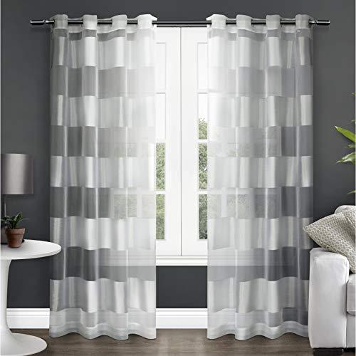 (Exclusive Home Navaro Striped Sheer Grommet Top Curtain Panel Pair, Winter White,)