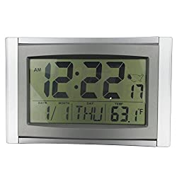 Atomic Alarm Clock, Timelike 5 in 1 Large LCD Atomic Radio-Controlled Wall Clock with Date and Temperatured