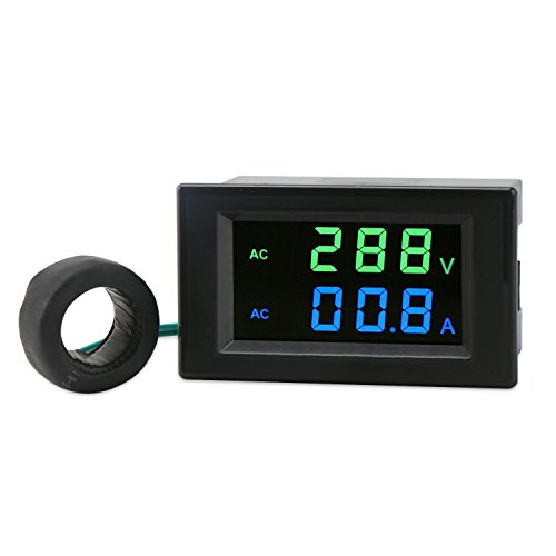Ac Sensor (DROK LCD Display Digital Multimeter Voltmeter Ammeter AC 80-300V Voltage Current Meter Gauge 100A Volt Ampere Tester with AC Current Sensor Transformer,Two-wires Digital Volts Amp Monitor Panel)