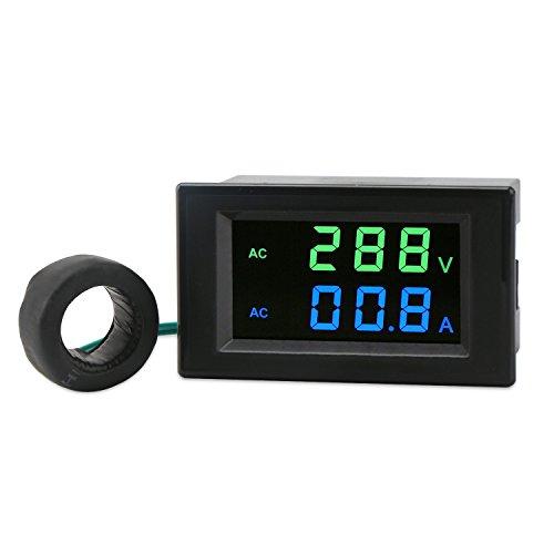 DROK LCD Display Digital Multimeter Voltmeter Ammeter AC 80-300V Voltage Current Meter Gauge 100A Volt Ampere Tester with AC Current Sensor Transformer,Two-wires Digital Volts Amp Monitor Panel