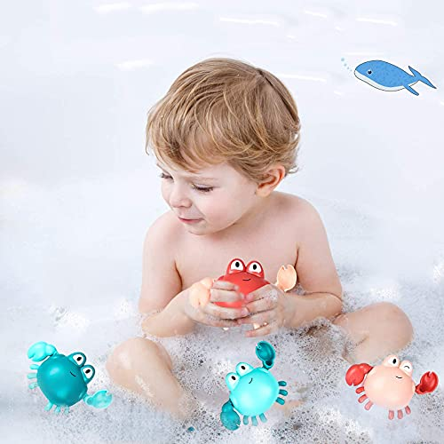 HeyKing 4 Pcs Bath Toys, Cute Swimming Crab Bathtub Toys for Toddlers, Wind Up Baby Bath Toys for Boys Girls, Pool Toys for Kids, Age 1-3