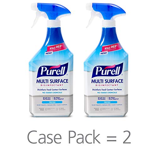 PURELL Multi-Surface Disinfectant Spray, Fresh Fragrance, 28 fl oz Trigger Spray Bottle (Pack of 2) - 2845-02-ECCAL (Watermelon Cleaning Supplies)