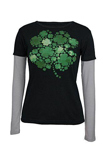 Green 3 ST. Patrick's Day Lucky Clovers Tee - 100% Organic Cotton Womens T Shirt, Made In The USA (Black, Grey Long Sleeve, XX-Large)