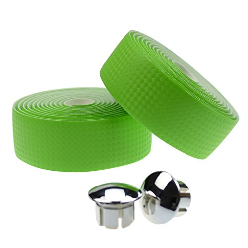 Neon Carbon Fiber Carbon - KINGOU Green Carbon Fiber PU Leather Road Bike Handlebar Tape Bicycle Wrap Tapes with Bar Plugs - 2PCS Per Set