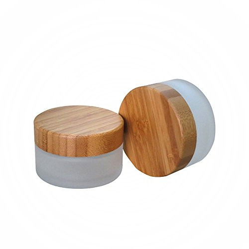 100g 100ml Environmental Bamboo Lid Frosted Glass Bottle Cream Jars Empty Cosmetic Comtainer 1pcs
