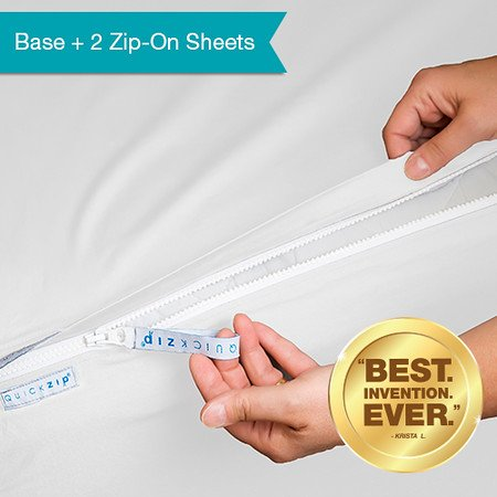 QuickZip 2 Pack, the Fitted Sheet that Won't Pop Off | Easy to Change & Fold | 400-Thread-Count Sateen Cotton, White, Twin XL by QuickZip