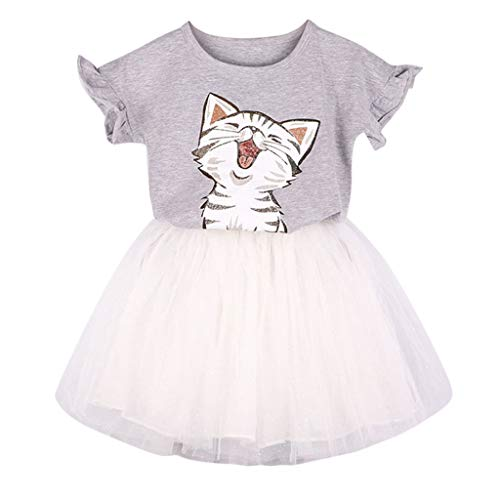 WOCACHI Toddler Kid Baby Girls Outfits Clothes Cute Cat Printed T-Shirt+Tutu Skirt Set 2pcs 3pcs Footies Onesies Playsuits Tutu Princess Granddaughter Rash Guards Short Tee Sets ()