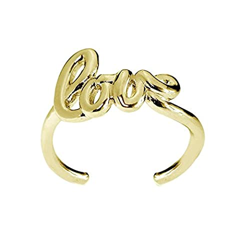 Yellow Gold Flash Sterling Silver Polished Love Toe Ring - Round Sterling Silver Wire Basket